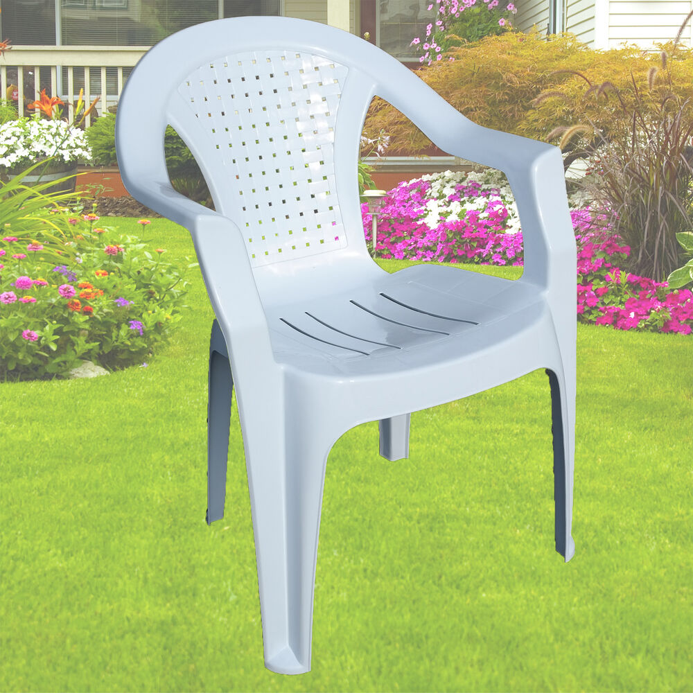 Garden plastic chair white stackable chair patio outdoor for Plastic garden furniture