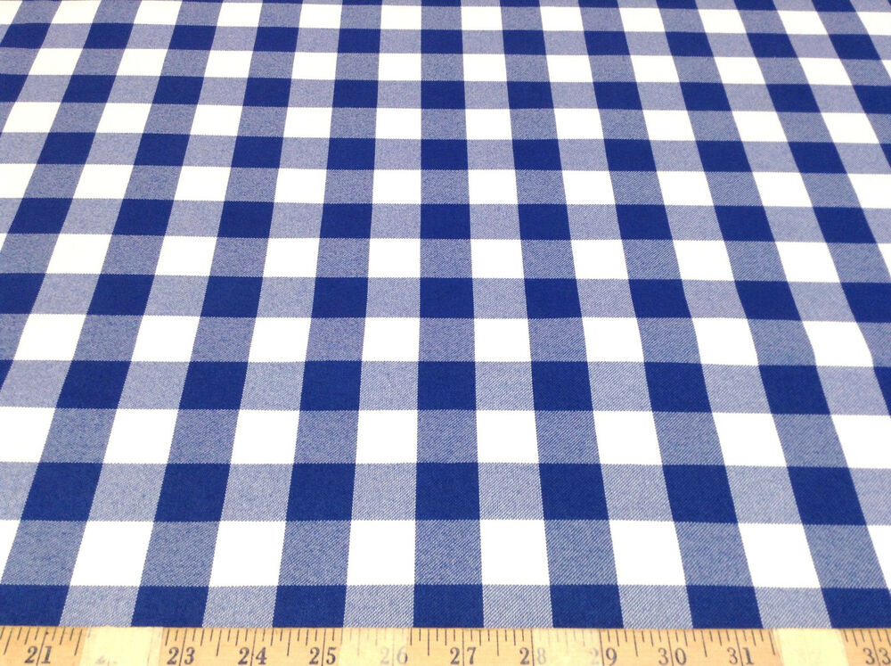 discount fabric drapery blue and white check 62 wide dr25 ebay. Black Bedroom Furniture Sets. Home Design Ideas