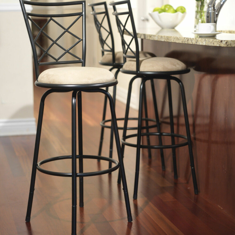 Swivel metal stools 3 set adjustable bar height black for Kitchen swivel bar stools