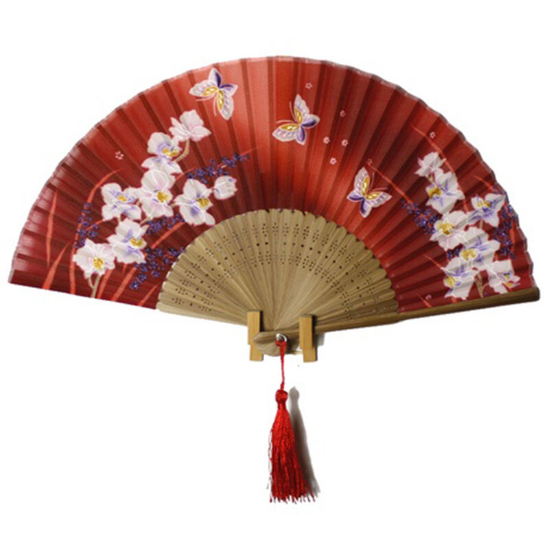 Hand Held Fans : Hand held japanese silk bamboo folding butterfly flower