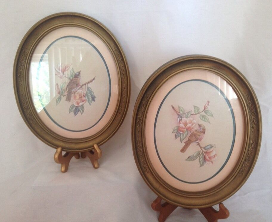 2 home interiors wall hanging gold framed oval shaped bird decor picture ebay - Oval wall decor ...
