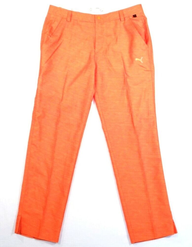 fa061a77aef3 Details about Puma Cell Dry Moisture Wicking Orange Monolite Golf Pants  Men s NWT