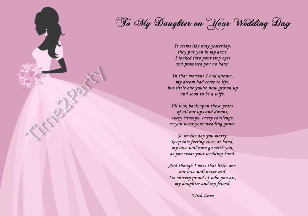 Father Gift To Daughter On Wedding Day: A4 Poem From Mum To Daughter On Her Wedding Day