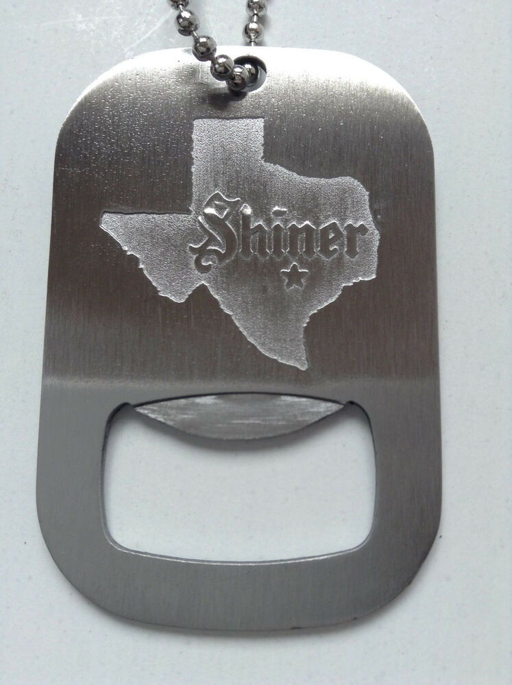 shiner beer dog tag military style bottle opener necklace chain brand new ebay. Black Bedroom Furniture Sets. Home Design Ideas