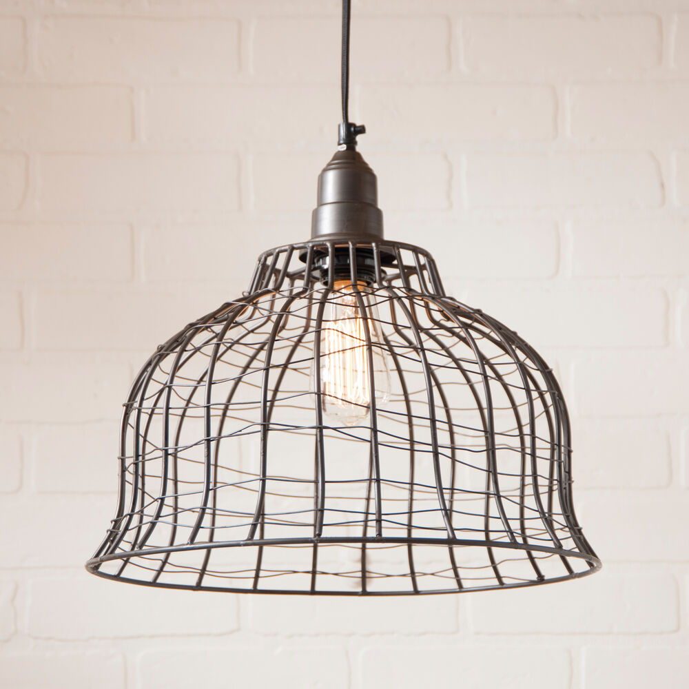 INDUSTRIAL WIRE CAGE PENDANT LAMP Primitive Smokey Black