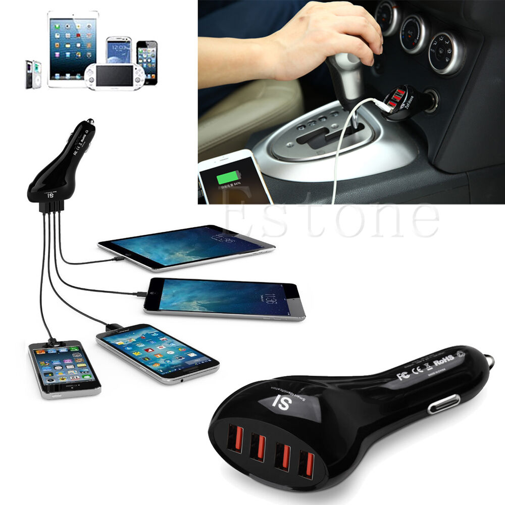 Universal Car Charger Adapter 10A 50W 4 Port USB DC For