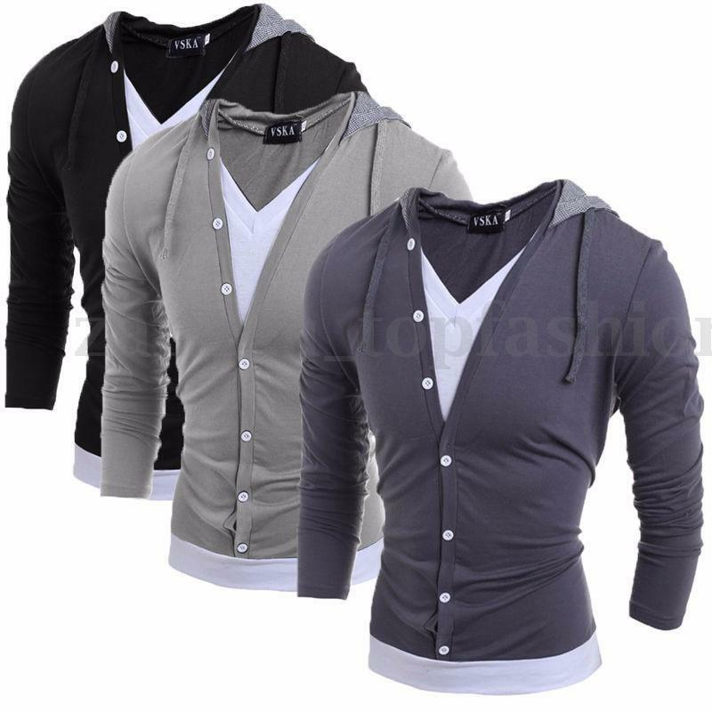 2016 mens slim fit long sleeve v neck hoodie shirt casual for Mens slim fit long sleeve t shirts