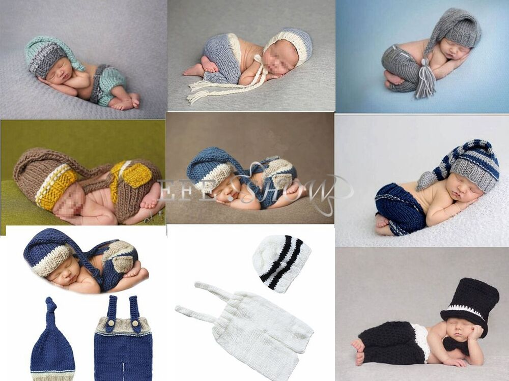 neugeborene baby sets jungen strick kost m gestrickt m tze hose fotoshooting hut ebay. Black Bedroom Furniture Sets. Home Design Ideas