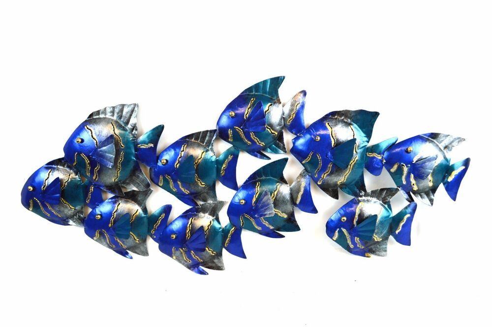 School fish metal cutout wall art contemporary home decor for Metal fish art wall decor