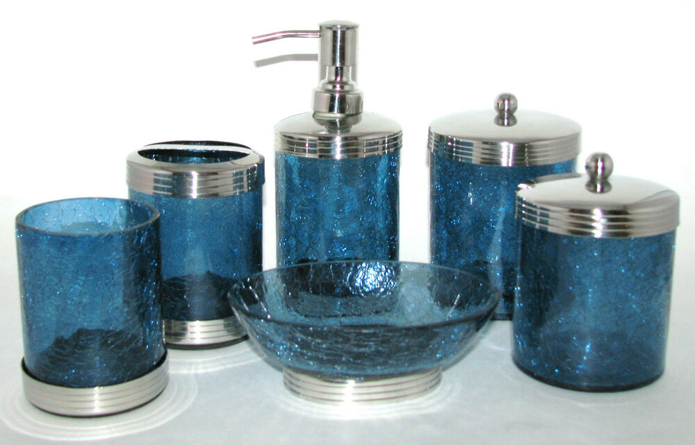 6 pc paradigm set blue glass dispenser jar w lid tumbler for Blue crackle glass bathroom accessories