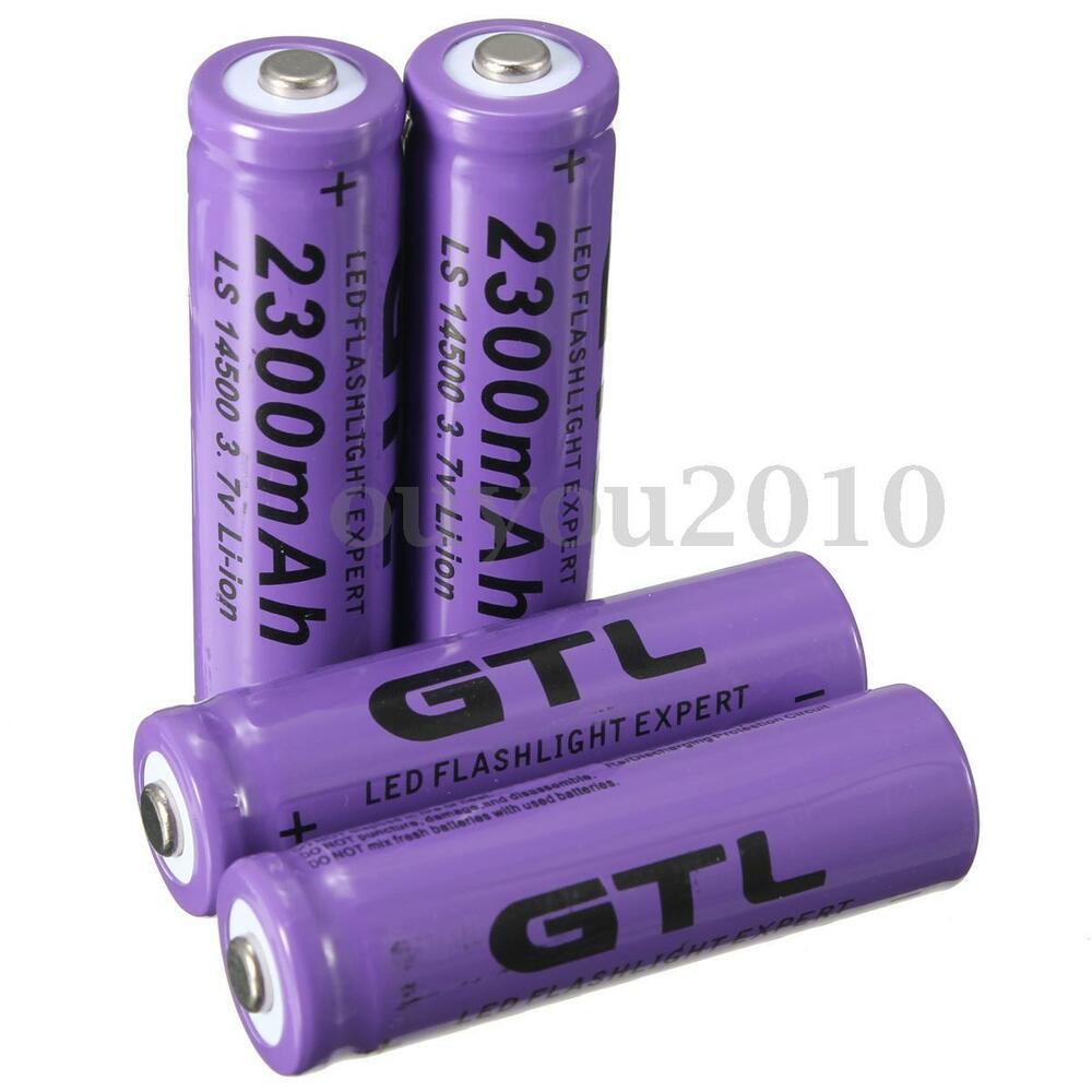 hot 4pcs 3 7v 2300mah 14500 aa li ion rechargeable battery for flashlight torch ebay. Black Bedroom Furniture Sets. Home Design Ideas