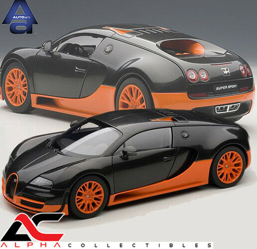 Bugatti Veyron Super Sport Black Orange: AUTOART 70936 1:18 BUGATTI VEYRON SUPER SPORT CARBON BLACK