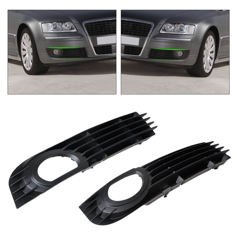 Pair Front Bumper Fog Light Low Grille Cover For Audi A8