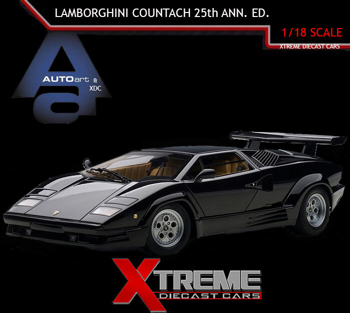 autoart 74539 1 18 lamborghini countach 25th anniversary edition black superc. Black Bedroom Furniture Sets. Home Design Ideas