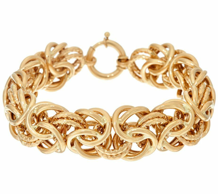 Bold textured polished byzantine chain bracelet real 14k for What is gold polished jewelry