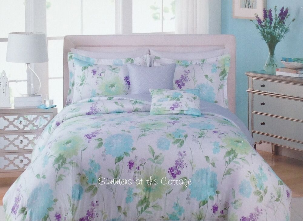 shabby cottage chic aqua blue king mint lavender duvet. Black Bedroom Furniture Sets. Home Design Ideas