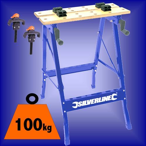 FOLDING WORKBENCH & 2 CLAMPS workmate vice bench table | eBay