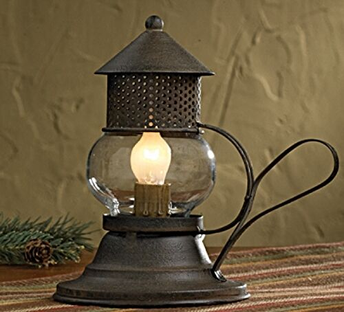 New Primitive Rustic Brown Barn ONION LANTERN Electric