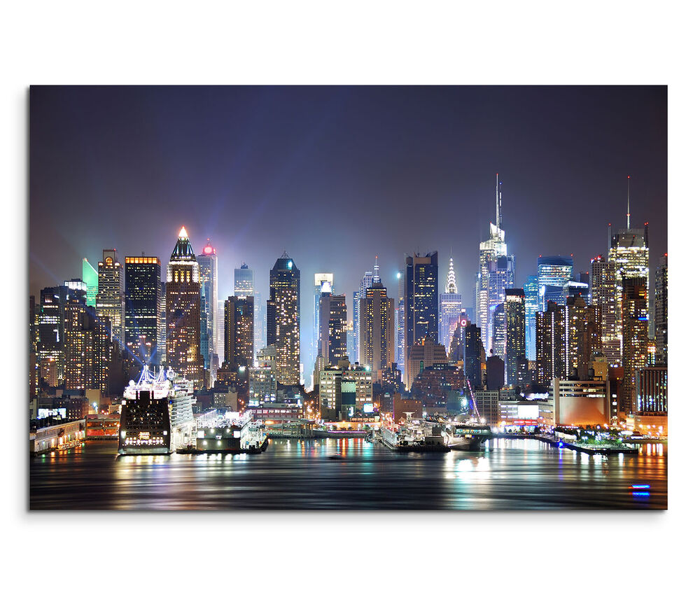 leinwandbild 120x80cm auf keilrahmen new york nachts dunkel lichter skyline ebay. Black Bedroom Furniture Sets. Home Design Ideas