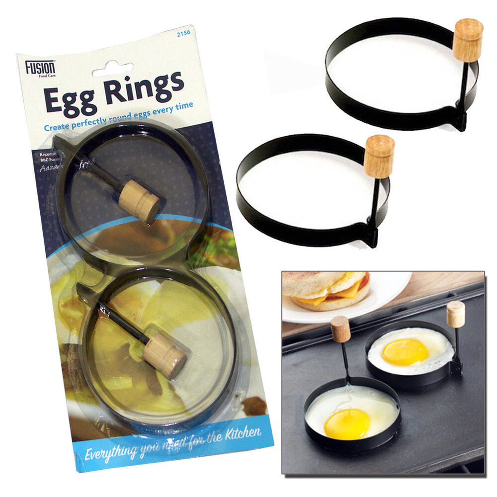 2 NON STICK PERFECT CIRCLE FRIED POACH EGG RINGS MOULD ...