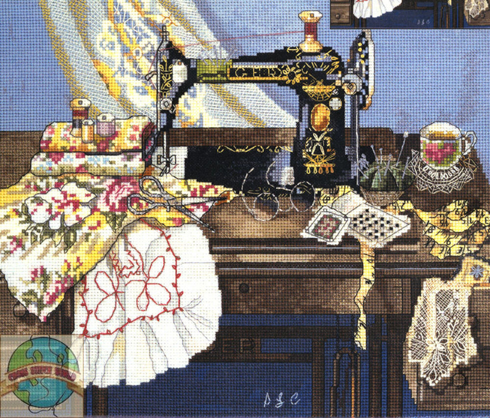 Cross stitch kit candamar antique vintage sewing machine