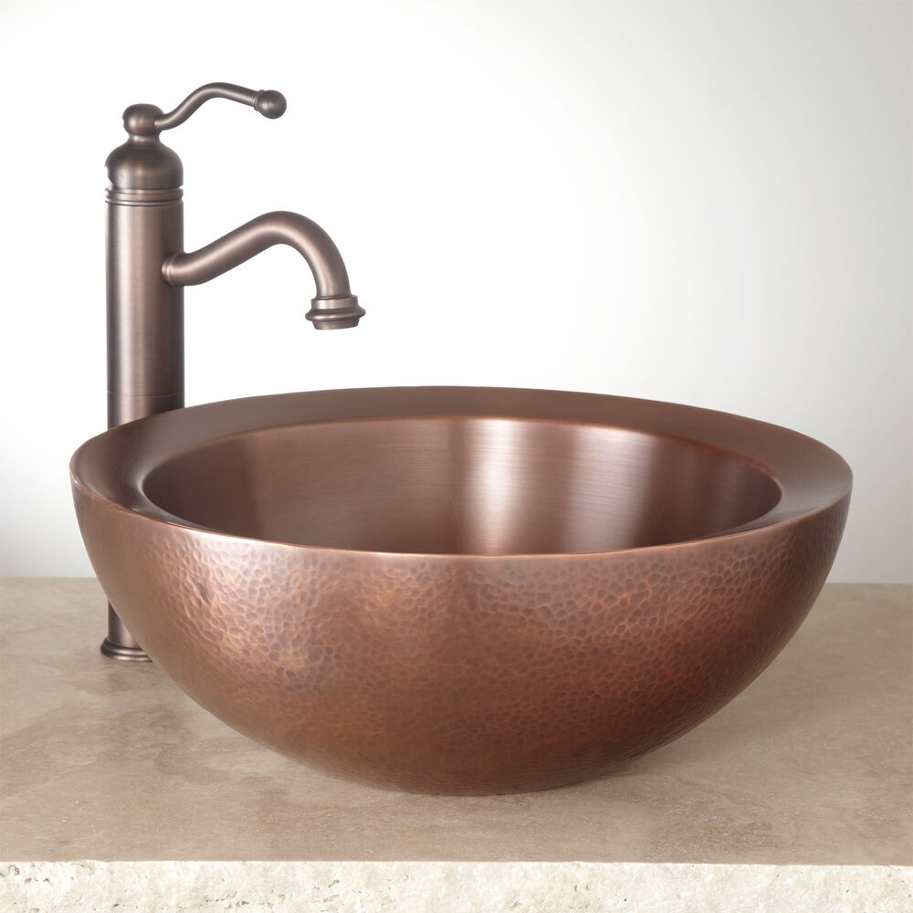 Signature hardware 16 casalina double wall hammered copper vessel sink ebay for Hammered copper bathroom sinks