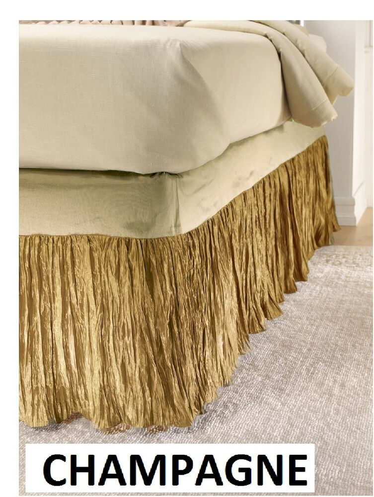 poly silk bed skirt champagne cal king only ebay. Black Bedroom Furniture Sets. Home Design Ideas
