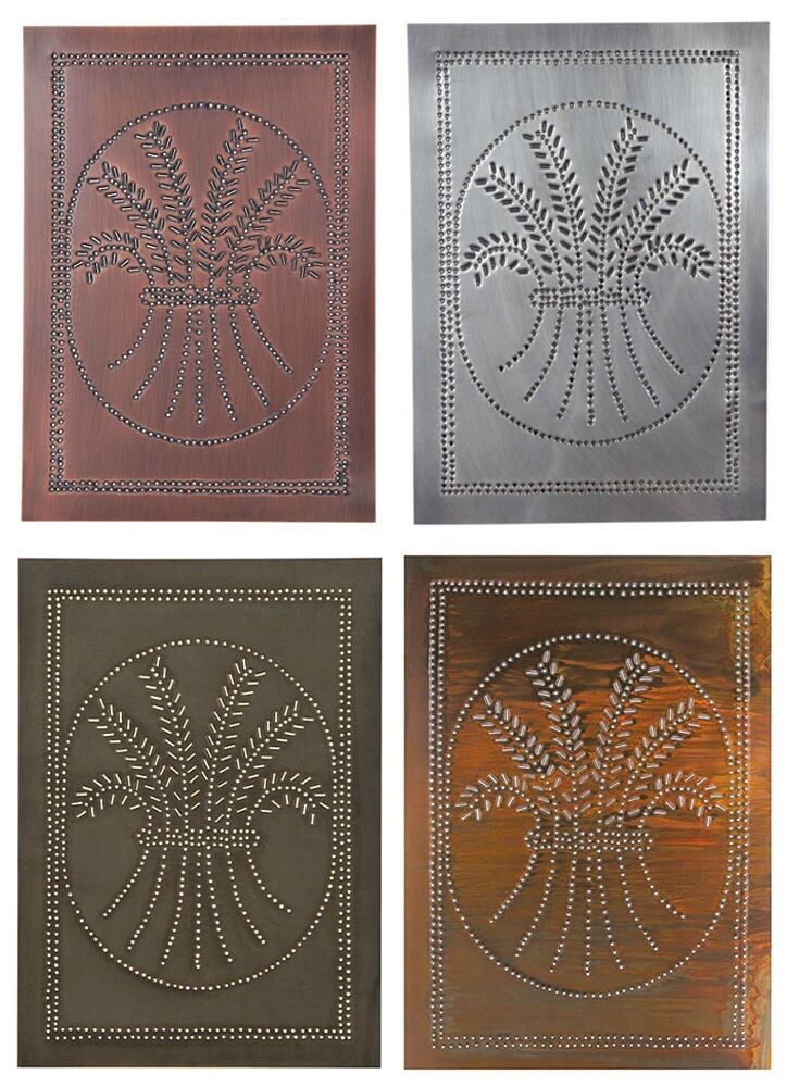 4 Punched Tin Panels Handcrafted Vertical Rustic Country