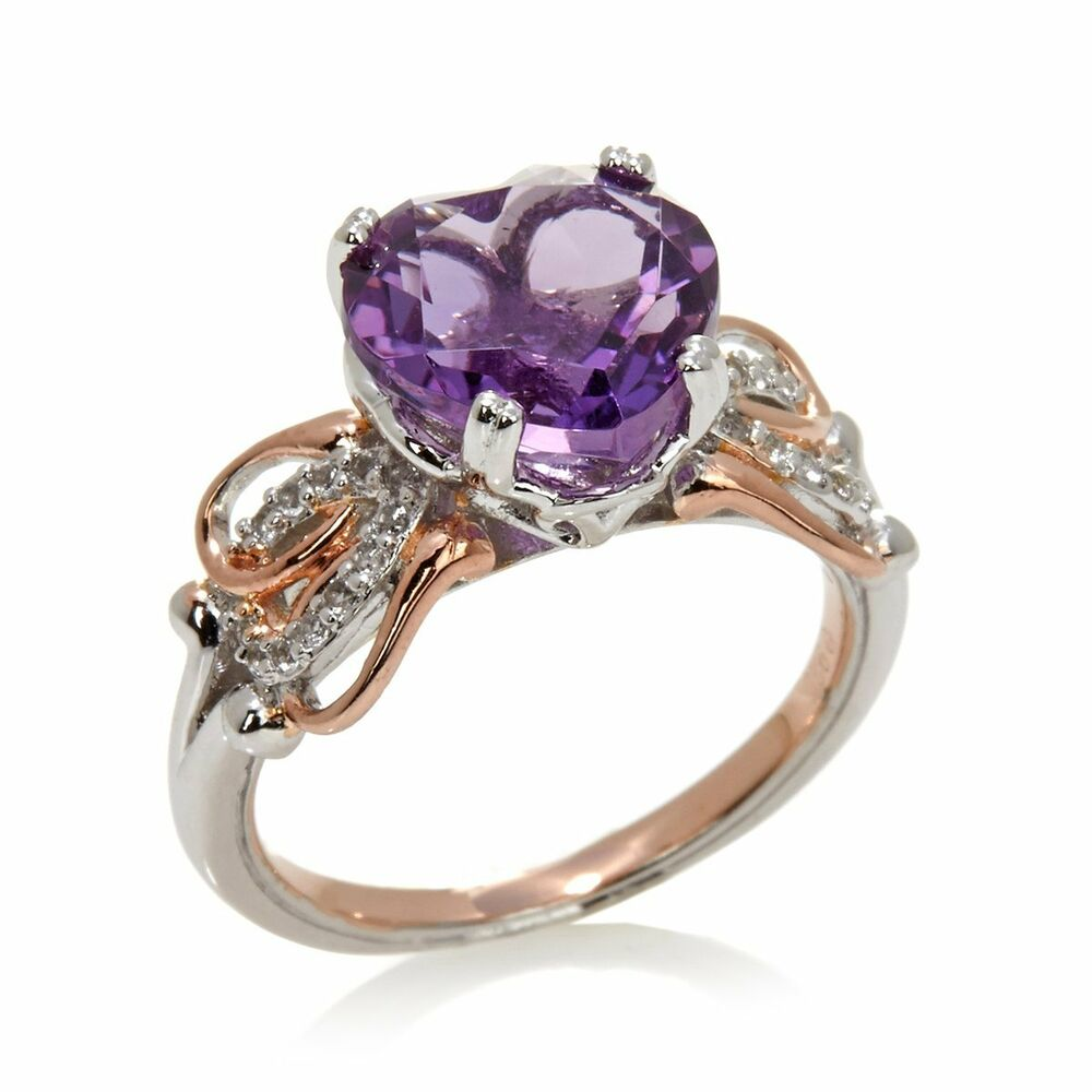 Victoria Wieck 2 84 Ct Amethyst And White Topaz 2 Tone