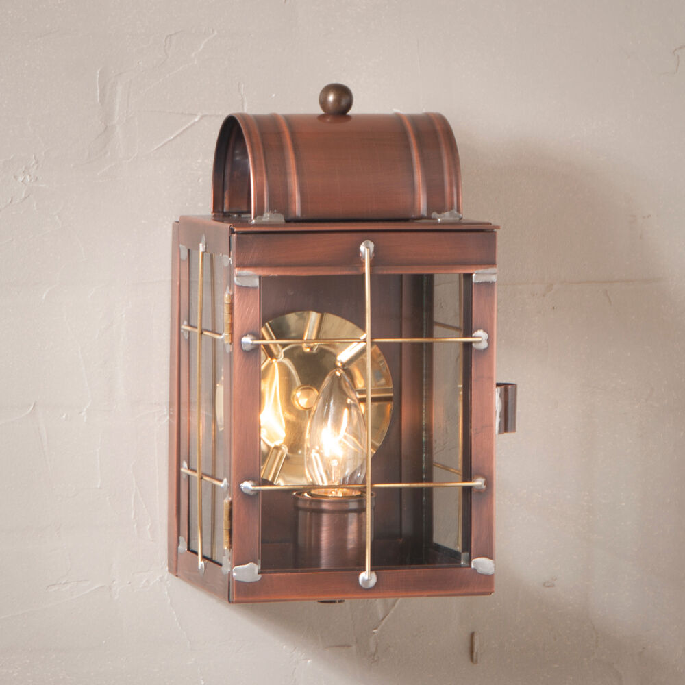Entry Door Wall Light Antique Copper Colonial Candle