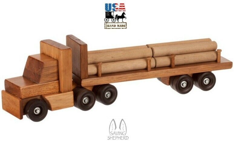 WOOD LOG TRUCK TOY Tractor Trailer Wooden Educational Homeschool ...