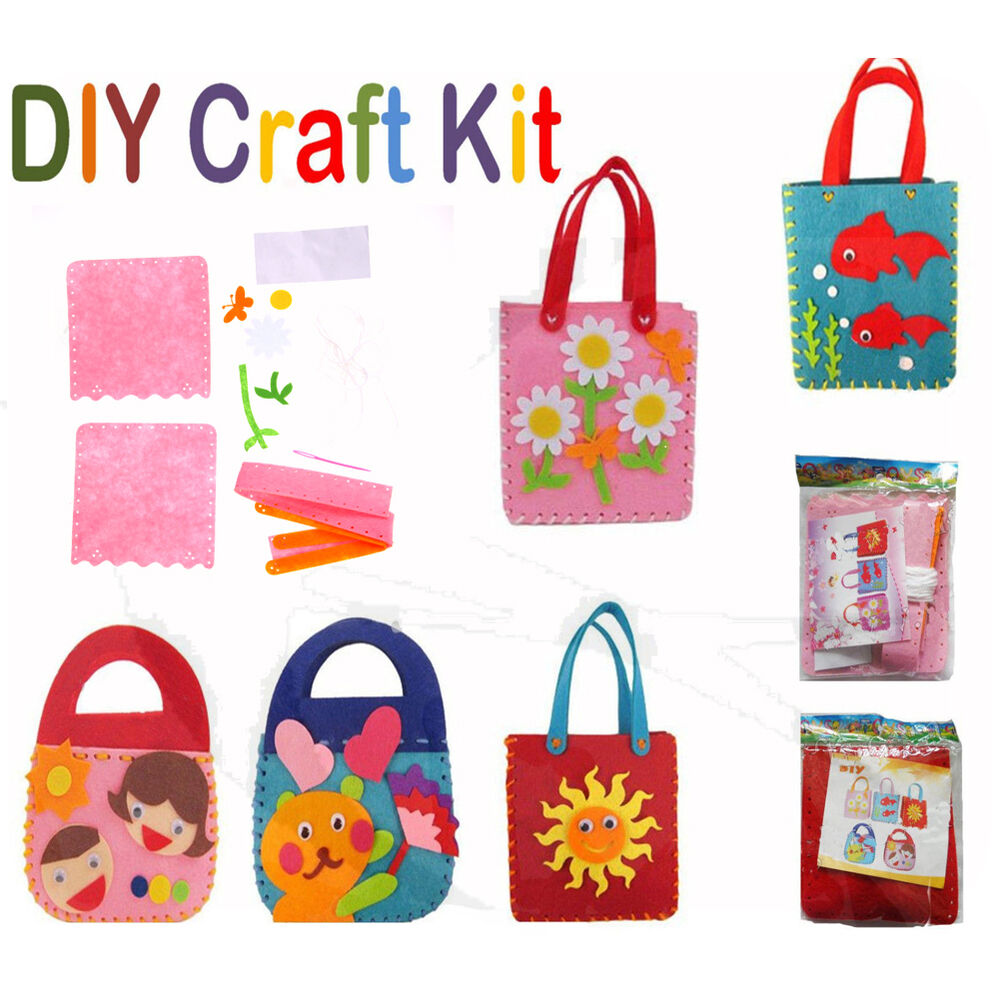 Kids diy handbags non woven cloth kids crafts cartoon toys for Crafts that sell on ebay