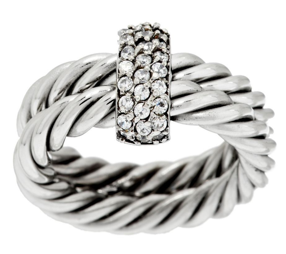 Rope Design Bands: QVC Steel By Design Twisted Rope Crystal Accent Ring