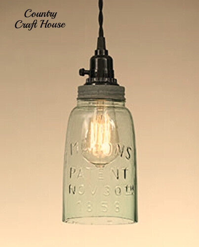 Primitive Country Shabby Farmhouse Chic MASON JAR PENDANT