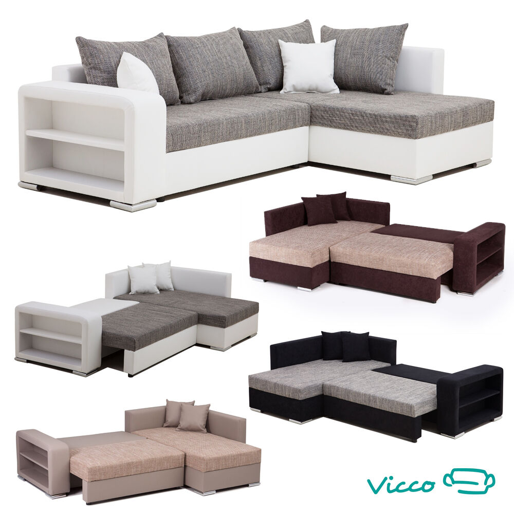 vicco sofa couch ecksofa houston eckcouch schlafsofa polsterecke garnitur bett ebay. Black Bedroom Furniture Sets. Home Design Ideas