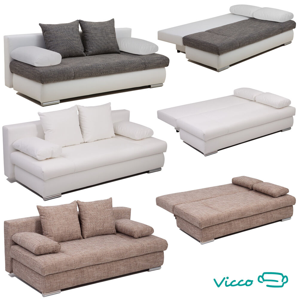 vicco schlafsofa couch sofa federkern 200x95cm bettkasten. Black Bedroom Furniture Sets. Home Design Ideas