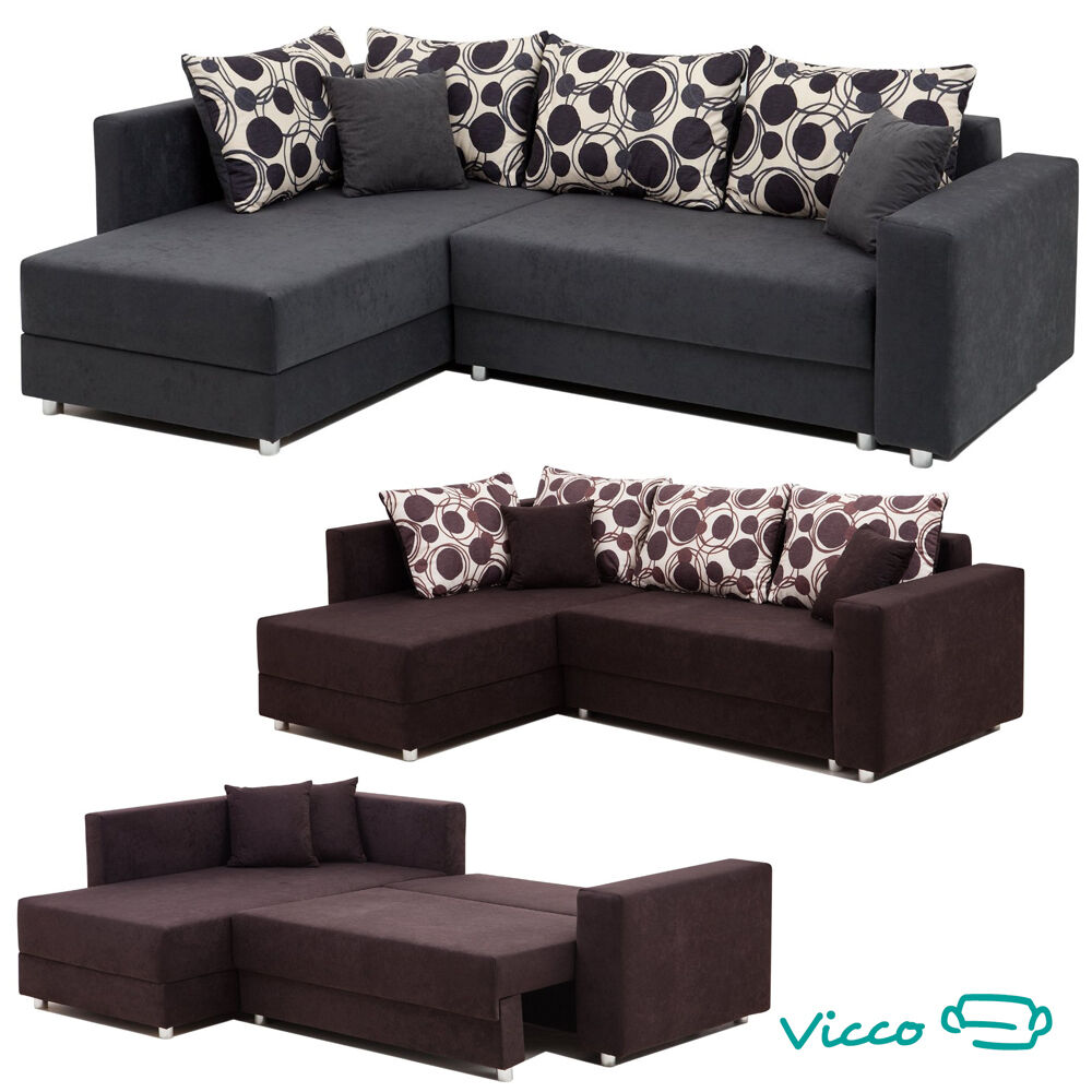 vicco sofa couch polsterecke ecksofa schlafcouch schlafsofa funktionsecke ebay. Black Bedroom Furniture Sets. Home Design Ideas
