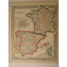 Map of  France Spain and Portugal in Europe,1864, Mitchell