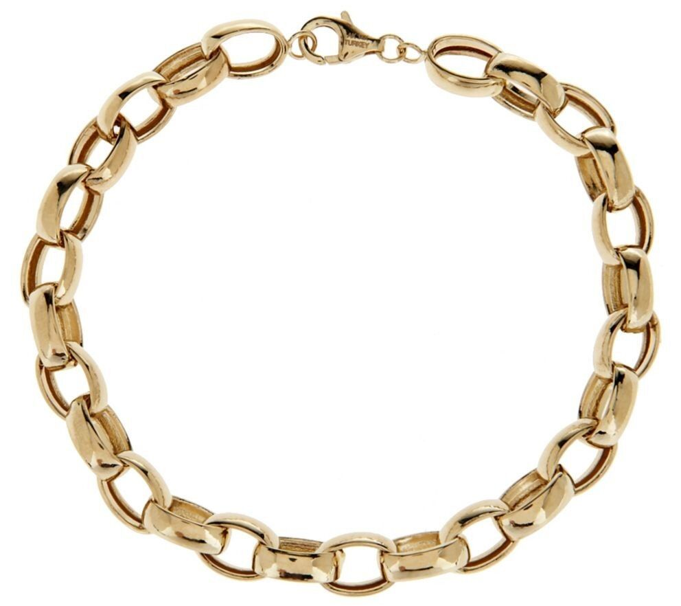 Polished oval rolo bracelet real 14k yellow gold all sizes for What is gold polished jewelry
