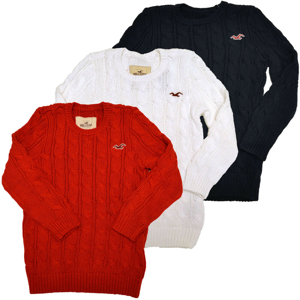 Hollister Sweater Cable Knit Embroidery Seagull Womens ...