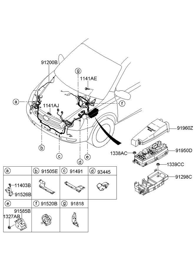 new hyundai oem 07 08 entourage engine compartment wiring. Black Bedroom Furniture Sets. Home Design Ideas