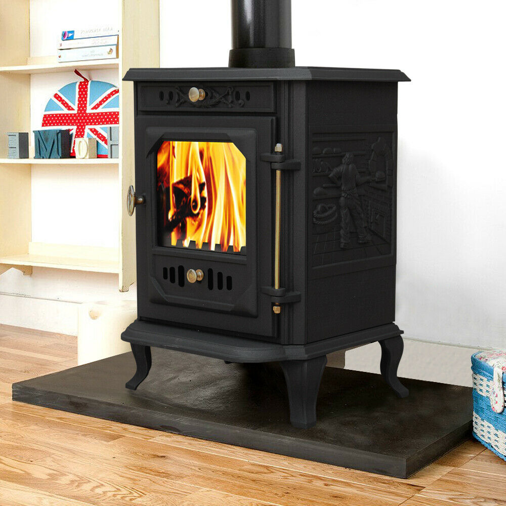 log burning cast iron wood burner stove fireplace ja001 ebay