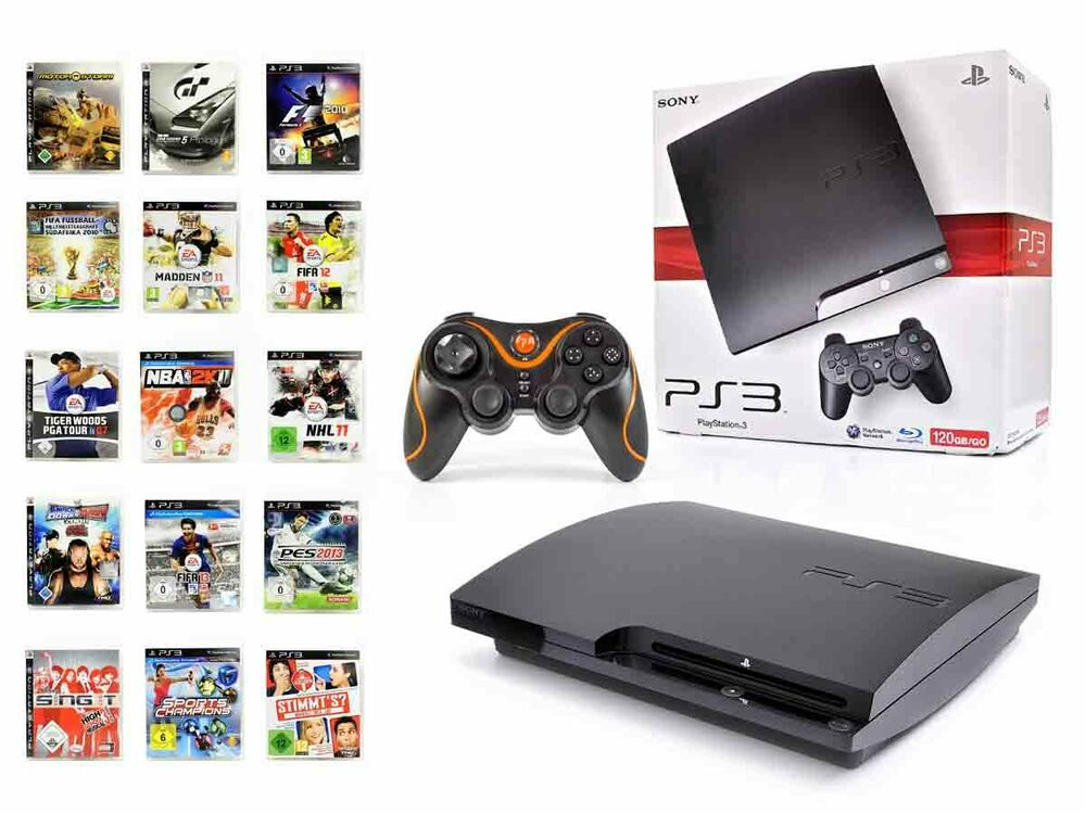 sony ps3 konsole 120gb slim neuen wired controller. Black Bedroom Furniture Sets. Home Design Ideas