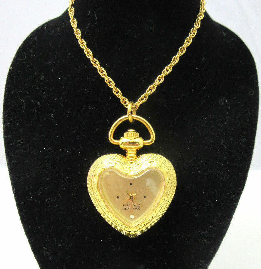 Vintage gold tone heart clock necklace joan rivers ebay for Joan rivers jewelry necklaces