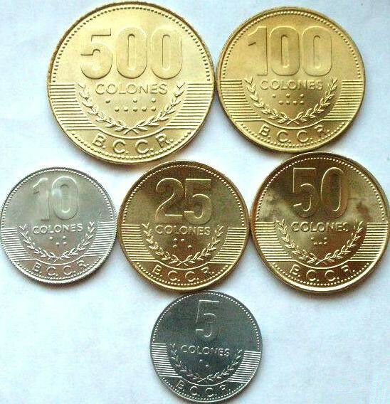 costa rica new set of 6 coins 5 10 25 50 100 500 colones unc