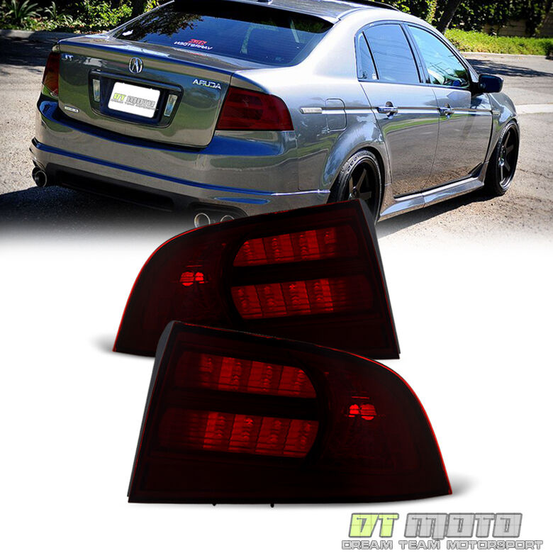 Red Smoked 2004-2008 Acura TL Type S Tail Lights Taillamps