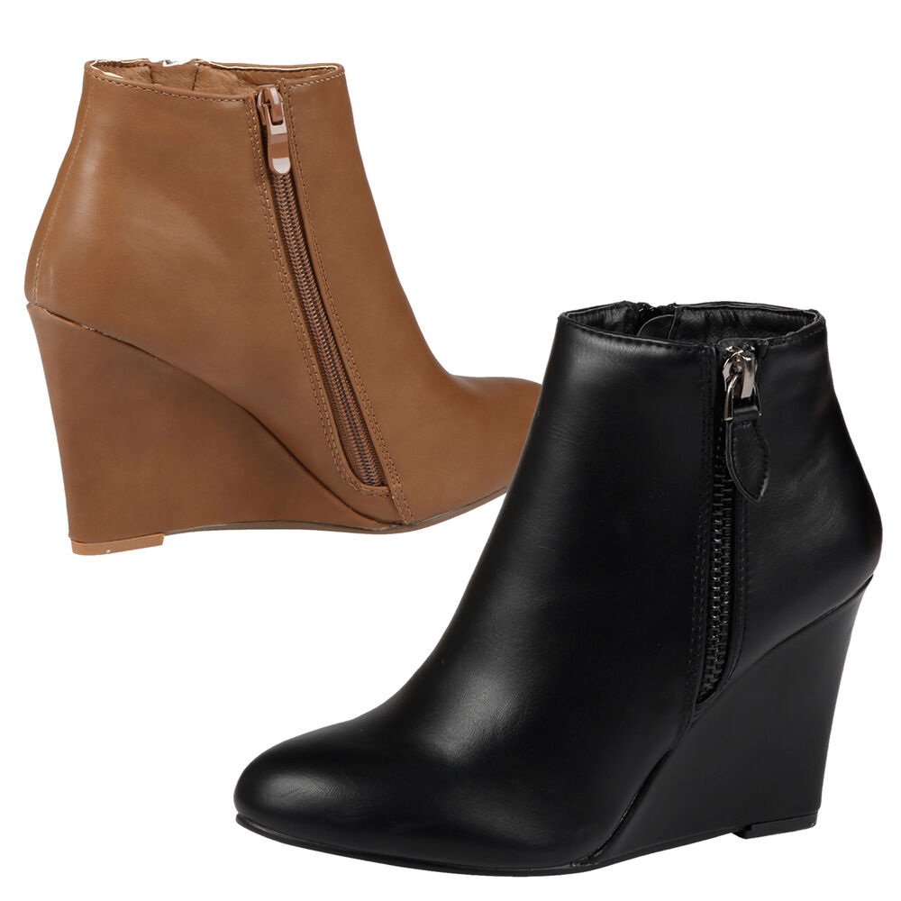 womens ankle boots wedges mid high heels shoes