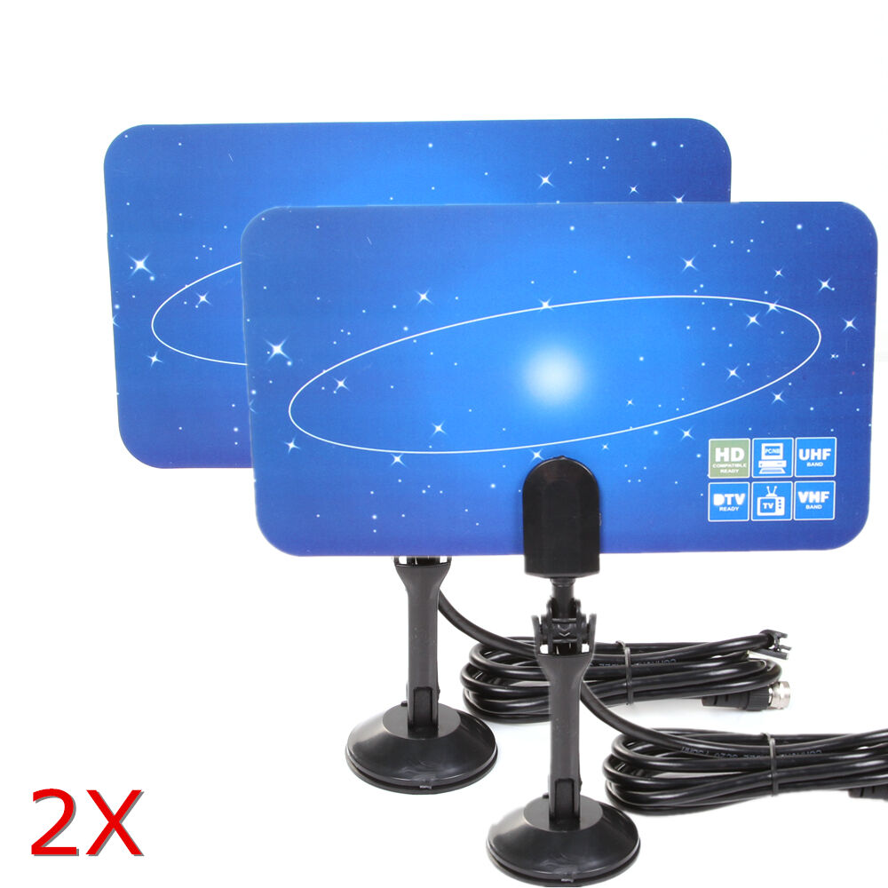 2x digital indoor tv antenna hdtv dtv box ready hd vhf uhf for Hdtv antenna template