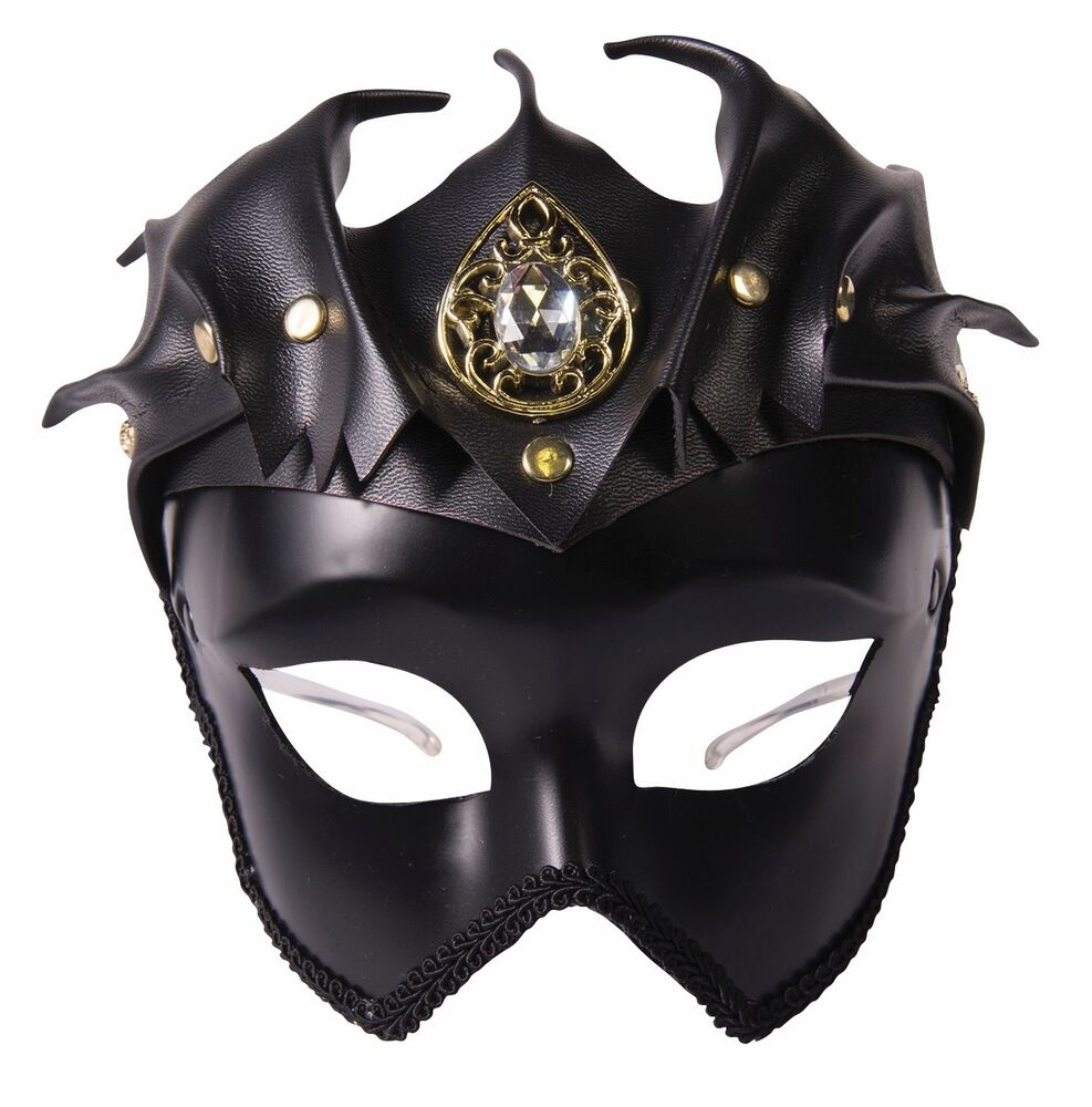 Faux Leather Black Medieval Warrior Mask Adult Queen King