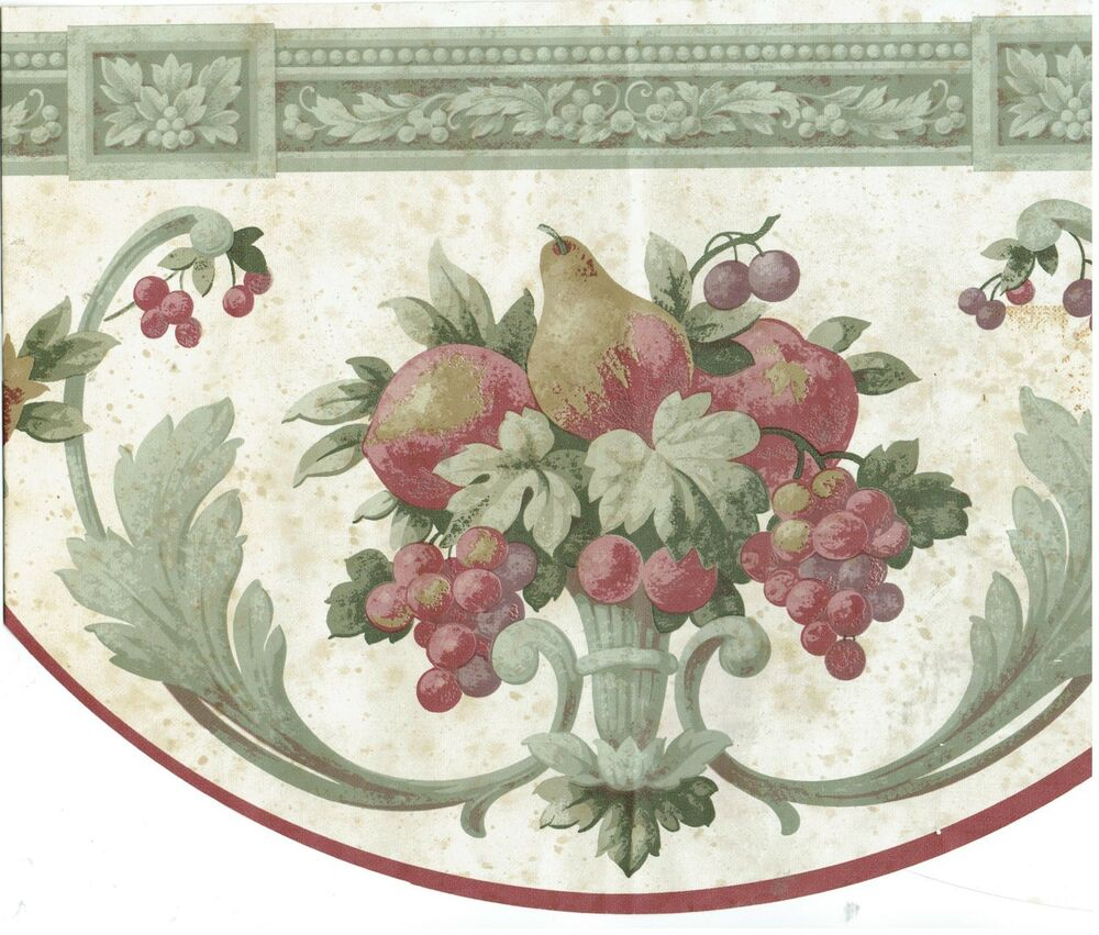 ... STYLE PEARS apples AND GRAPES Wallpaper bordeR Wall | eBay